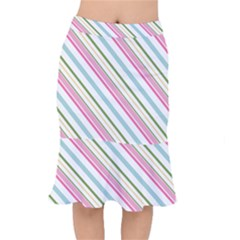 Diagonal Stripes Color Rainbow Pink Green Red Blue Mermaid Skirt by Mariart
