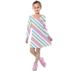 Diagonal Stripes Color Rainbow Pink Green Red Blue Kids  Long Sleeve Velvet Dress by Mariart