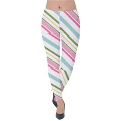 Diagonal Stripes Color Rainbow Pink Green Red Blue Velvet Leggings by Mariart