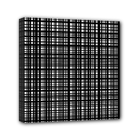 Crosshatch Target Line Black Mini Canvas 6  X 6  by Mariart