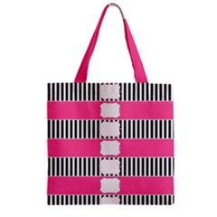 Custom Water Bottle Labels Line Black Pink Zipper Grocery Tote Bag by Mariart