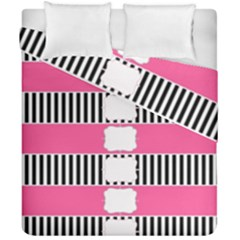 Custom Water Bottle Labels Line Black Pink Duvet Cover Double Side (california King Size) by Mariart