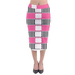 Custom Water Bottle Labels Line Black Pink Midi Pencil Skirt by Mariart