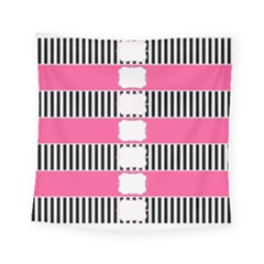 Custom Water Bottle Labels Line Black Pink Square Tapestry (small) by Mariart