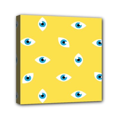 Eye Blue White Yellow Monster Sexy Image Mini Canvas 6  X 6  by Mariart