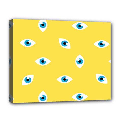 Eye Blue White Yellow Monster Sexy Image Canvas 14  X 11  by Mariart