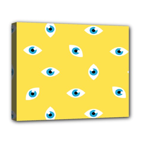 Eye Blue White Yellow Monster Sexy Image Deluxe Canvas 20  X 16   by Mariart