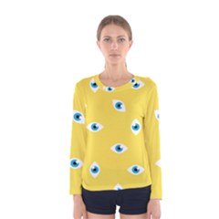 Eye Blue White Yellow Monster Sexy Image Women s Long Sleeve Tee by Mariart