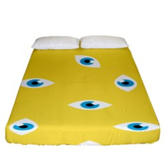 Eye Blue White Yellow Monster Sexy Image Fitted Sheet (king Size) by Mariart