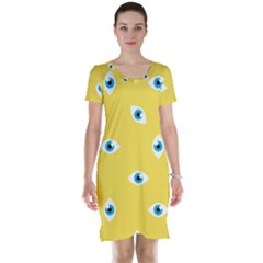Eye Blue White Yellow Monster Sexy Image Short Sleeve Nightdress by Mariart