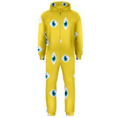 Eye Blue White Yellow Monster Sexy Image Hooded Jumpsuit (men)  by Mariart