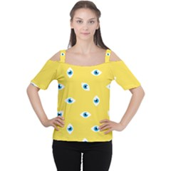 Eye Blue White Yellow Monster Sexy Image Women s Cutout Shoulder Tee
