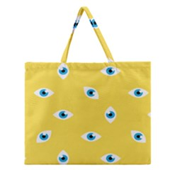 Eye Blue White Yellow Monster Sexy Image Zipper Large Tote Bag by Mariart