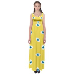 Eye Blue White Yellow Monster Sexy Image Empire Waist Maxi Dress by Mariart