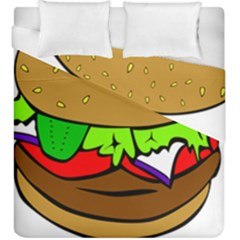Fast Food Lunch Dinner Hamburger Cheese Vegetables Bread Duvet Cover Double Side (king Size) by Mariart