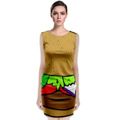 Fast Food Lunch Dinner Hamburger Cheese Vegetables Bread Classic Sleeveless Midi Dress by Mariart