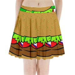 Fast Food Lunch Dinner Hamburger Cheese Vegetables Bread Pleated Mini Skirt by Mariart