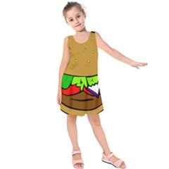 Fast Food Lunch Dinner Hamburger Cheese Vegetables Bread Kids  Sleeveless Dress by Mariart