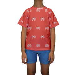 Glasses Disco Retina Red White Line Kids  Short Sleeve Swimwear