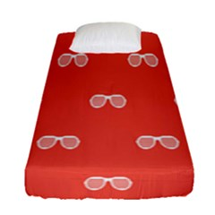 Glasses Disco Retina Red White Line Fitted Sheet (single Size) by Mariart