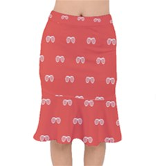 Glasses Disco Retina Red White Line Mermaid Skirt by Mariart
