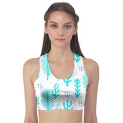 Forest Drop Blue Pink Polka Circle Sports Bra by Mariart