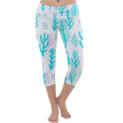 Forest Drop Blue Pink Polka Circle Capri Yoga Leggings by Mariart