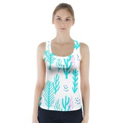 Forest Drop Blue Pink Polka Circle Racer Back Sports Top by Mariart