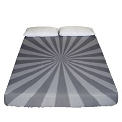 Grey Starburst Line Light Fitted Sheet (queen Size) by Mariart