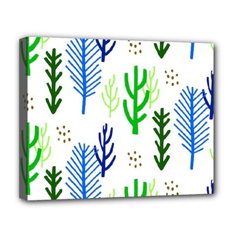Forest Green Drop Blue Brown Polka Circle Deluxe Canvas 20  X 16   by Mariart