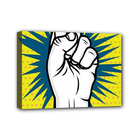 Hand Polka Dot Yellow Blue White Orange Sign Mini Canvas 7  X 5  by Mariart
