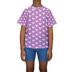 Heart Love Valentine White Purple Card Kids  Short Sleeve Swimwear by Mariart