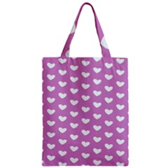 Heart Love Valentine White Purple Card Zipper Classic Tote Bag by Mariart