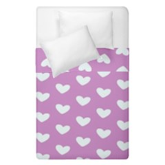 Heart Love Valentine White Purple Card Duvet Cover Double Side (single Size) by Mariart