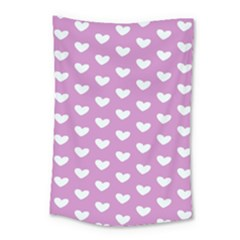 Heart Love Valentine White Purple Card Small Tapestry by Mariart