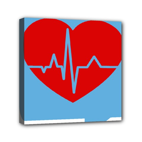 Heartbeat Health Heart Sign Red Blue Mini Canvas 6  X 6  by Mariart