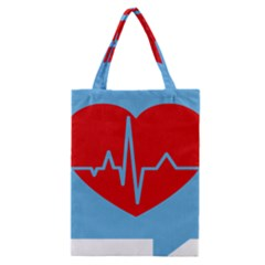 Heartbeat Health Heart Sign Red Blue Classic Tote Bag by Mariart