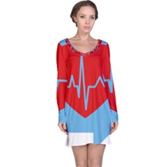 Heartbeat Health Heart Sign Red Blue Long Sleeve Nightdress by Mariart