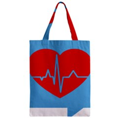 Heartbeat Health Heart Sign Red Blue Zipper Classic Tote Bag by Mariart