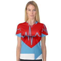 Heartbeat Health Heart Sign Red Blue Women s V Neck Sport Mesh Tee by Mariart