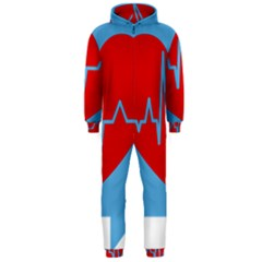 Heartbeat Health Heart Sign Red Blue Hooded Jumpsuit (men)  by Mariart