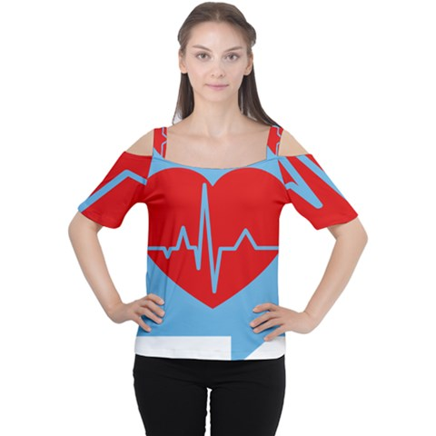 Heartbeat Health Heart Sign Red Blue Women s Cutout Shoulder Tee by Mariart