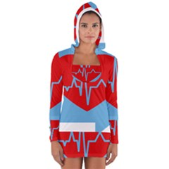 Heartbeat Health Heart Sign Red Blue Women s Long Sleeve Hooded T Shirt
