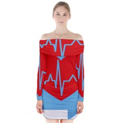 Heartbeat Health Heart Sign Red Blue Long Sleeve Off Shoulder Dress by Mariart