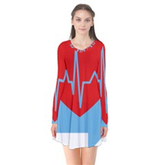 Heartbeat Health Heart Sign Red Blue Flare Dress by Mariart