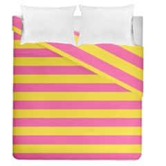 Horizontal Pink Yellow Line Duvet Cover Double Side (queen Size) by Mariart