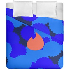 Image Orange Blue Sign Black Spot Polka Duvet Cover Double Side (california King Size) by Mariart