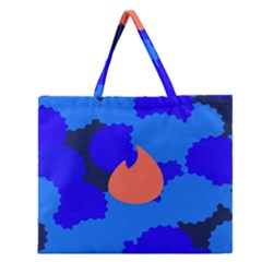 Image Orange Blue Sign Black Spot Polka Zipper Large Tote Bag