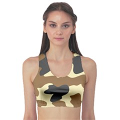 Initial Camouflage Camo Netting Brown Black Sports Bra by Mariart