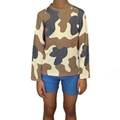 Initial Camouflage Camo Netting Brown Black Kids  Long Sleeve Swimwear by Mariart